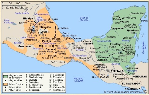 A map of the different cultures that inhabited Central America