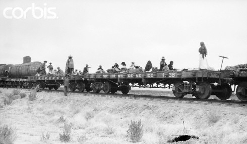 Women cooking and performing other chores on a Mexican army train