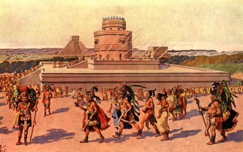 An artist rendering of a Mayan city